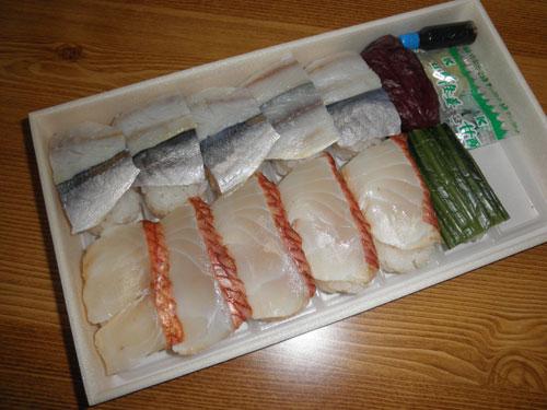 小鯵と金目の寿司