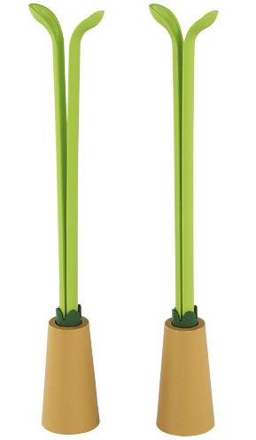 緑のブーツクリップ2個セット スタンド付