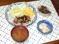 12/9 夕食 鮭のソテー メイプルマスタードソース、きんぴらごぼう、カブの浅漬け、もやしの味噌汁