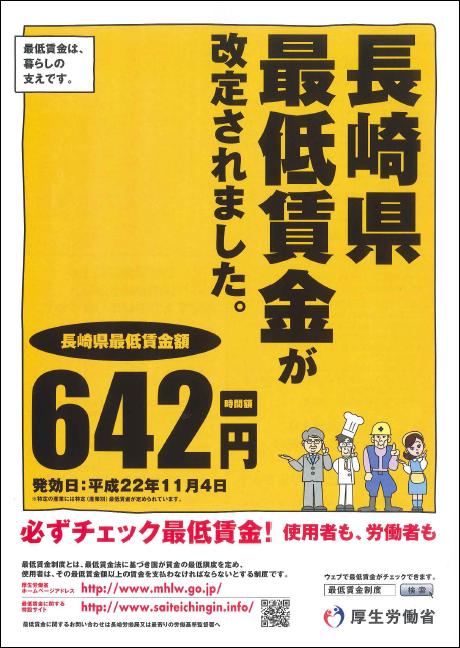 長崎 最低賃金 642円