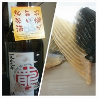 とらふぐのひれと富士酒造古酒龍成