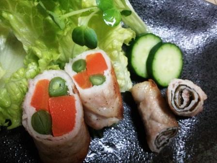 豚肉の野菜と梅紫蘇巻き