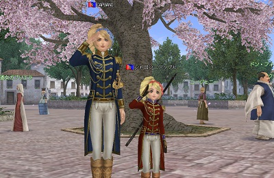 桜と将官服