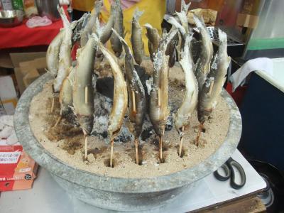 アユの塩焼きの屋台