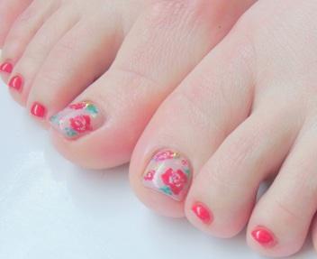 花柄フットジェルネイルデザイン ペディキュア