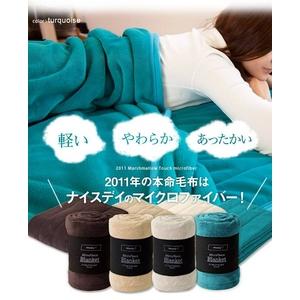 ふっくらマシュマロタッチマイクロファイバー毛布・敷パッド ターコイズ