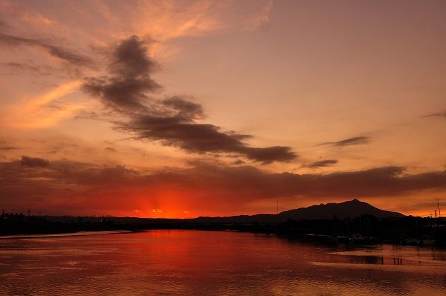 百齡橋河川公園の夕日