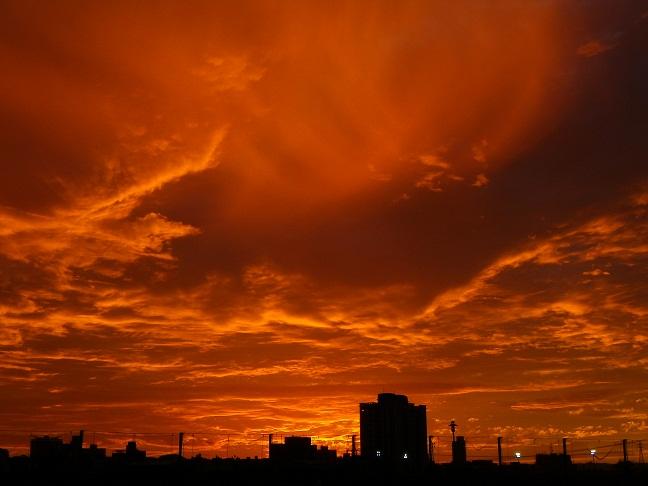 夕日に染まる河川グランド(2)