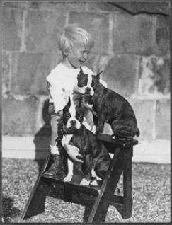 36th President of the US, Gerald R. Ford as a child with his Boston Terriers, Fleck & Spot