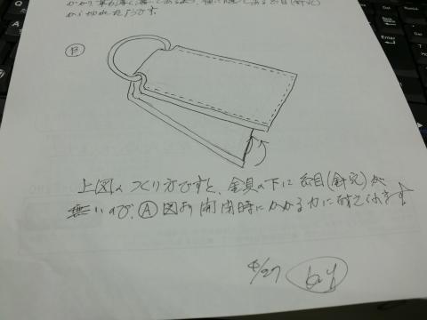 ファスナーの引き手の修理の説明用に図解を描くぴんきー