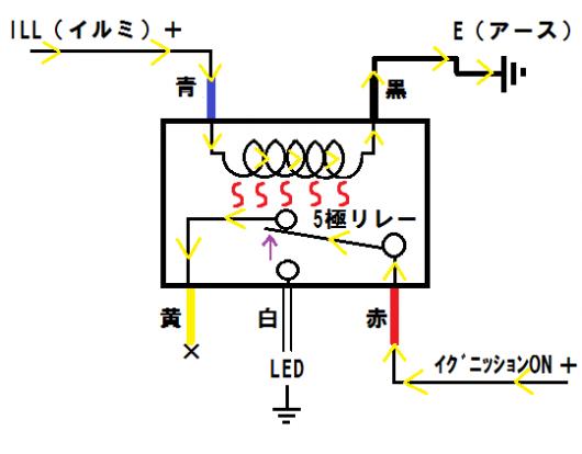 5極リレー配線図 - イグニッションON & イルミON時