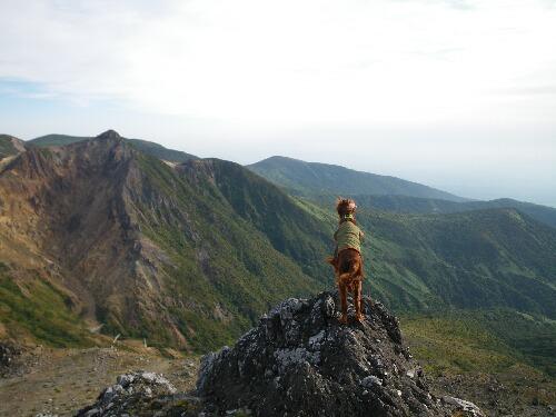 朝日岳を望む