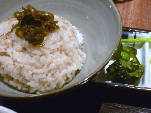 麦飯に青唐の佃煮