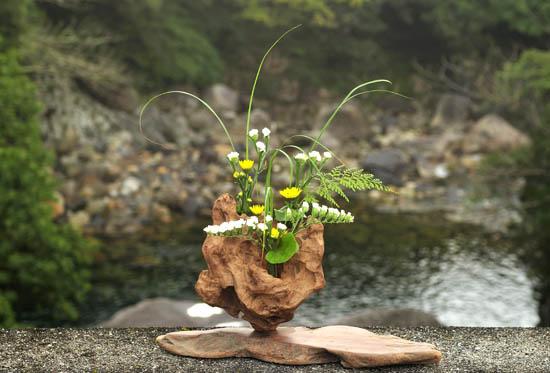 スターチース、黄色小菊、ホラシノブ、カヤ、ツワブキの葉