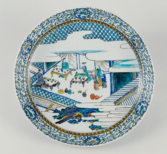 kokutani 色絵酒宴図大平鉢 伊万里 古九谷様式 17C