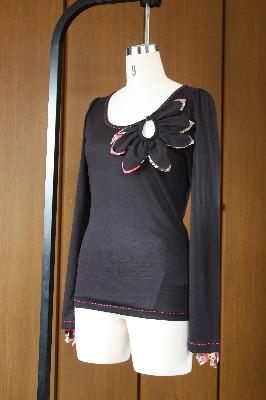 Petal[花びら]カットソー(長袖)/ブラック