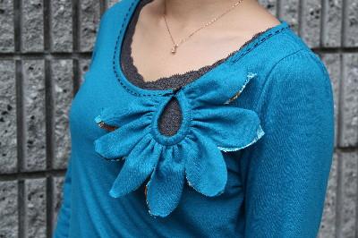 Petal[花びら]カットソー(長袖)/ターコイズブルー