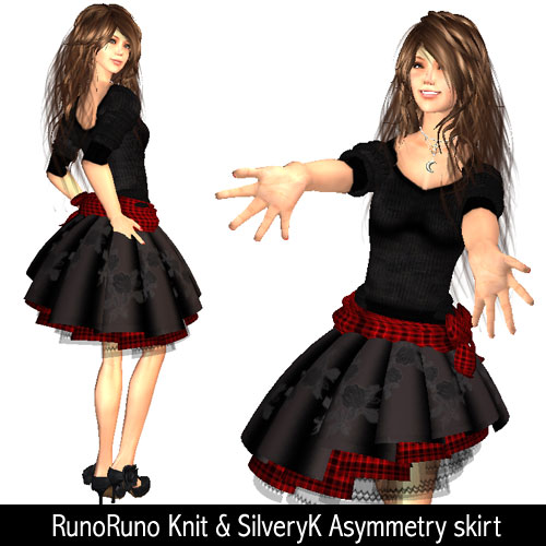RunoRuno Knit & SilveryK Asymmetry skirt