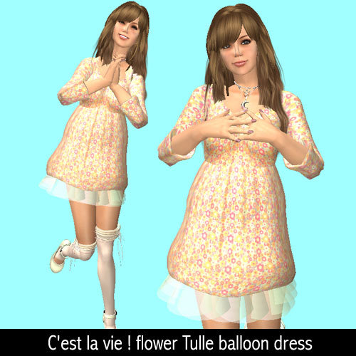 C'est la vie ! flower Tulle balloon dress