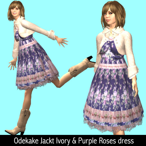 Odekake Jackt Ivory & Purple Roses dress