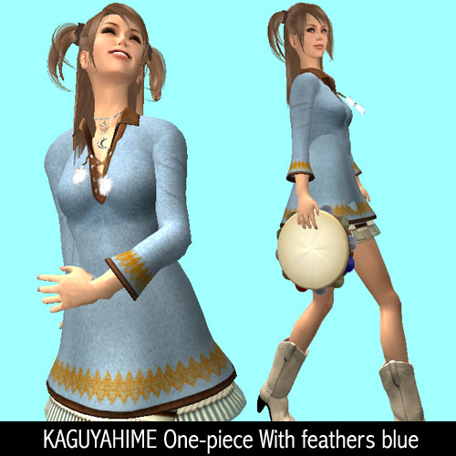 KAGUYAHIME One-piece With feathers blue