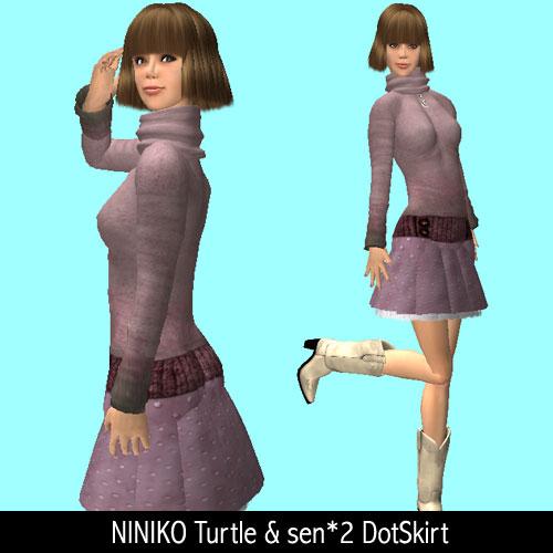 NINIKO Turtle & sen*2 DotSkirt