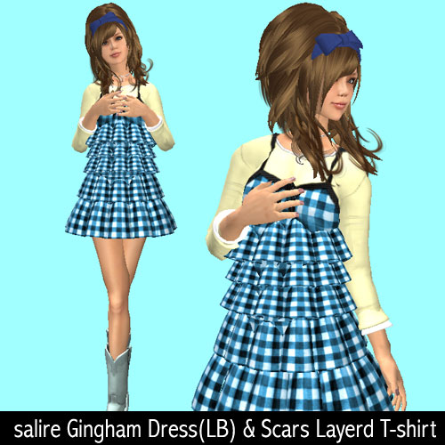 salire Gingham Dress(LB) & Scars Layerd T-shirt