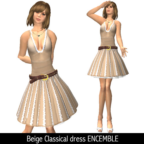 Beige Classical dress ENCEMBLE