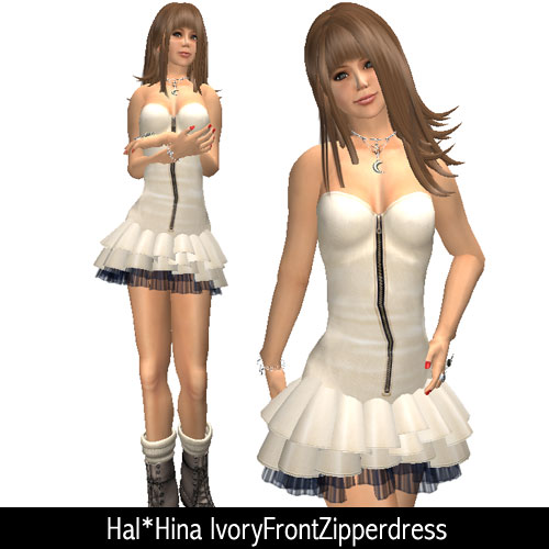 Hal*Hina ivory Front Zipper dress