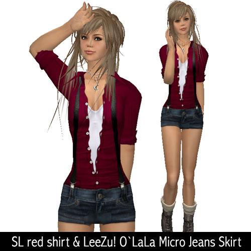 SL red shirt & LeeZu! O`LaLa Micro Jeans Skirt