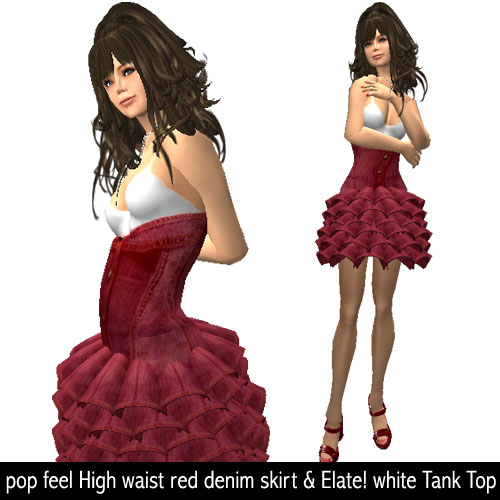 pop feel High waist red denim skirt & Elate! white Tank Top