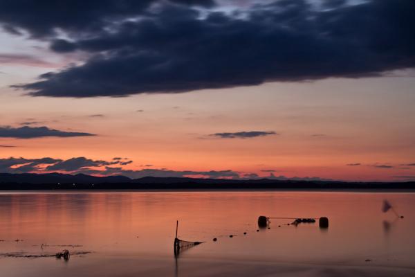 夕映えの湖
