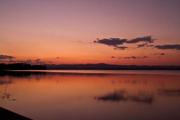 網走湖の夕映