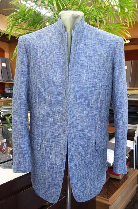 米沢シルクの格好良いマオカラージャケット