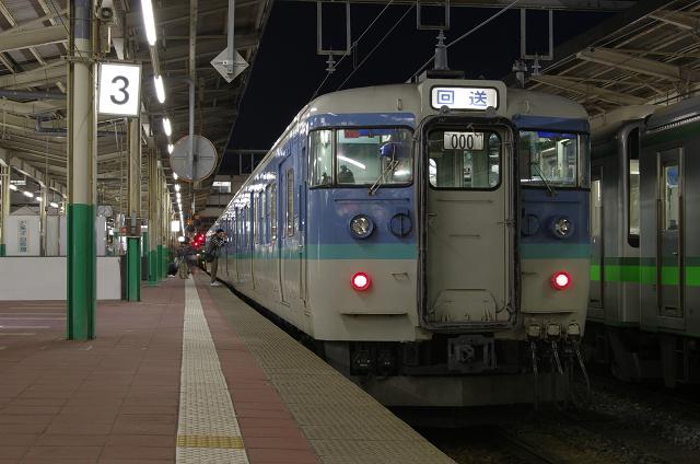 夜の新潟駅に、