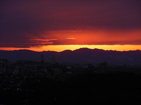 横位一線の夕焼け
