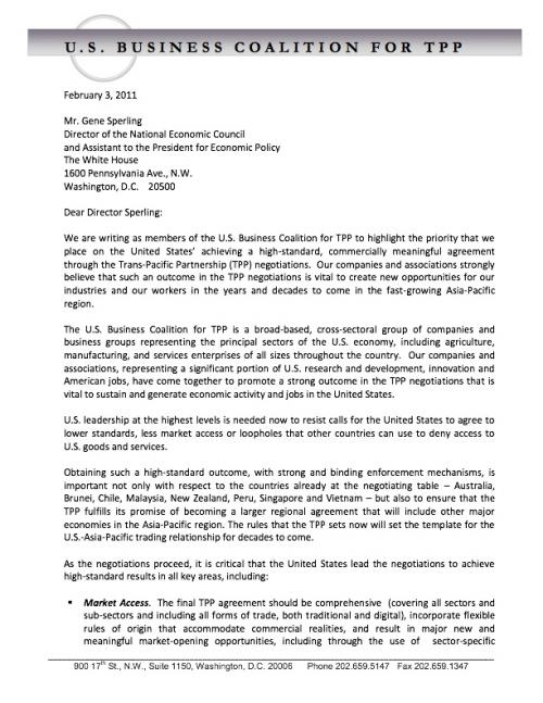 TPP Coalition Letter to Sperling1