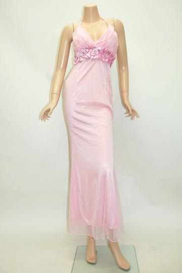 サテン薔薇コサージュ ロングドレス