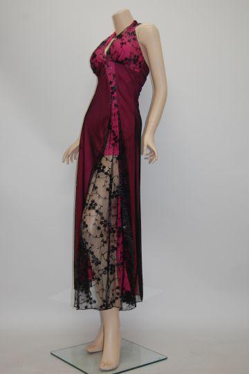 レーススリットホルター ロングドレス