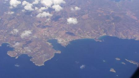 飛行機から見たミコノス島ビーチ