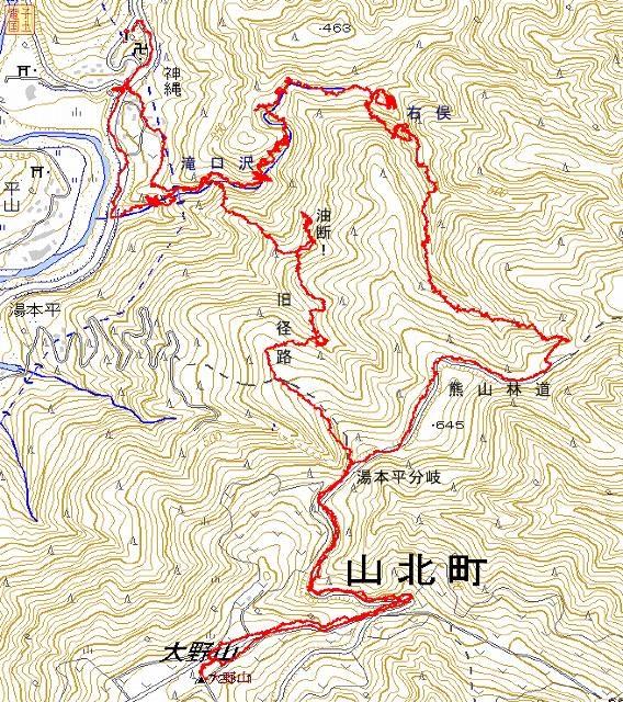 滝口沢と大野山