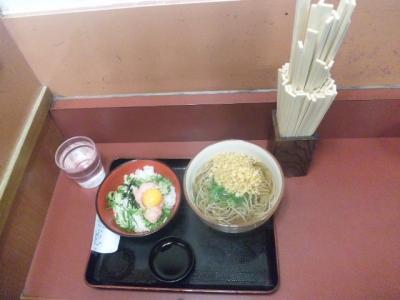 140123潮屋ネギトロ丼セット500円と割り箸タワー