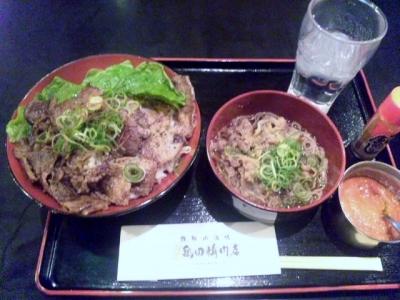 140129二代目亀田精肉店ステーキ丼500円で味噌汁をミニ肉そば変更+150円