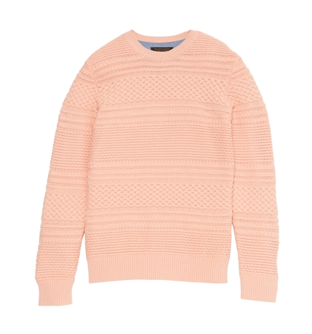 KN03 BORDER CABLE KNIT SWEATER PNK_R