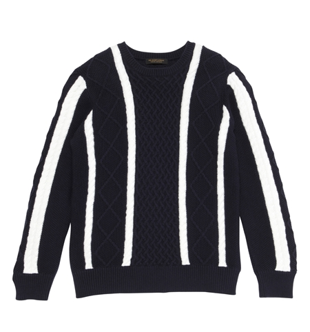 KN04 STRIPE CABLE KNIT SWEATER NVY WHT_R