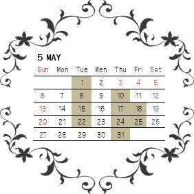 heure de l`ange 5月カレンダー