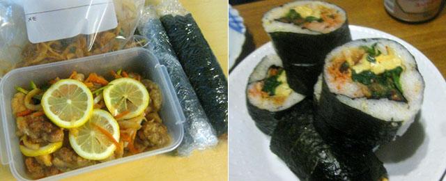 持ち寄った韓国風まき寿司