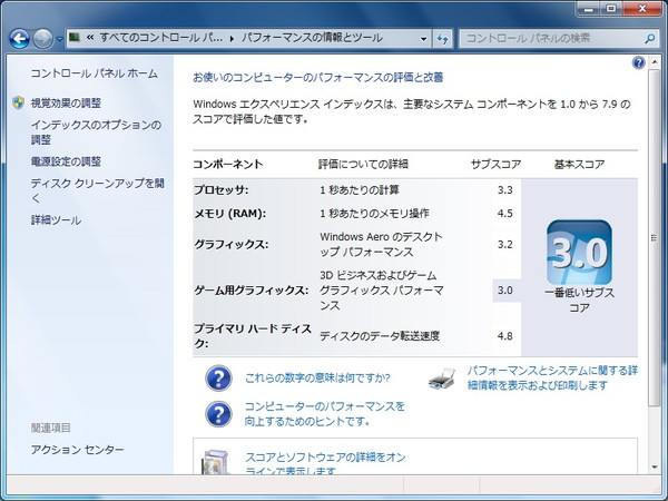 FMV-BIBLO NF50WN WindowsエクスペリエンスインデックスSSD交換前