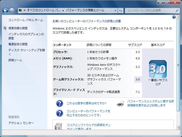FMV-BIBLO NF50WN WindowsエクスペリエンスインデックスSSD交換後
