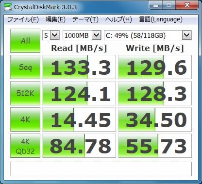 FMV-BIBLO NF50WN CrystalDiskMark SSD交換後
